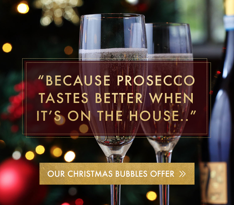 Prosecco always tastes better when its on the house at Miller & Carter Bagshot