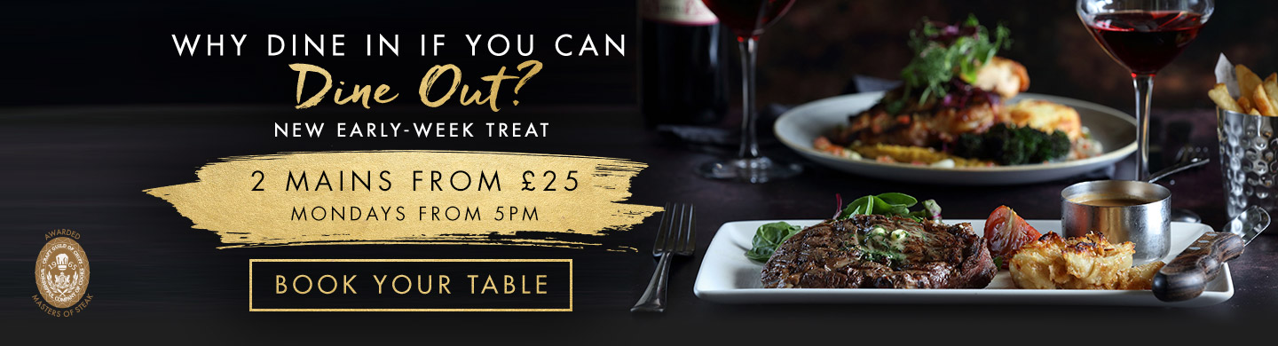 Book your table at Miller & Carter Greenmount for an Early Week Treat!