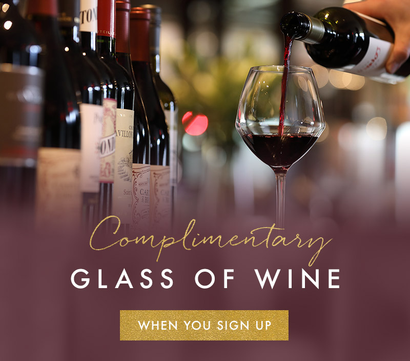 Complimentary glass of wine